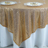 "LUXURY COLLECTION Duchess Sequin Overlay 90"" x 90"" - Gold"