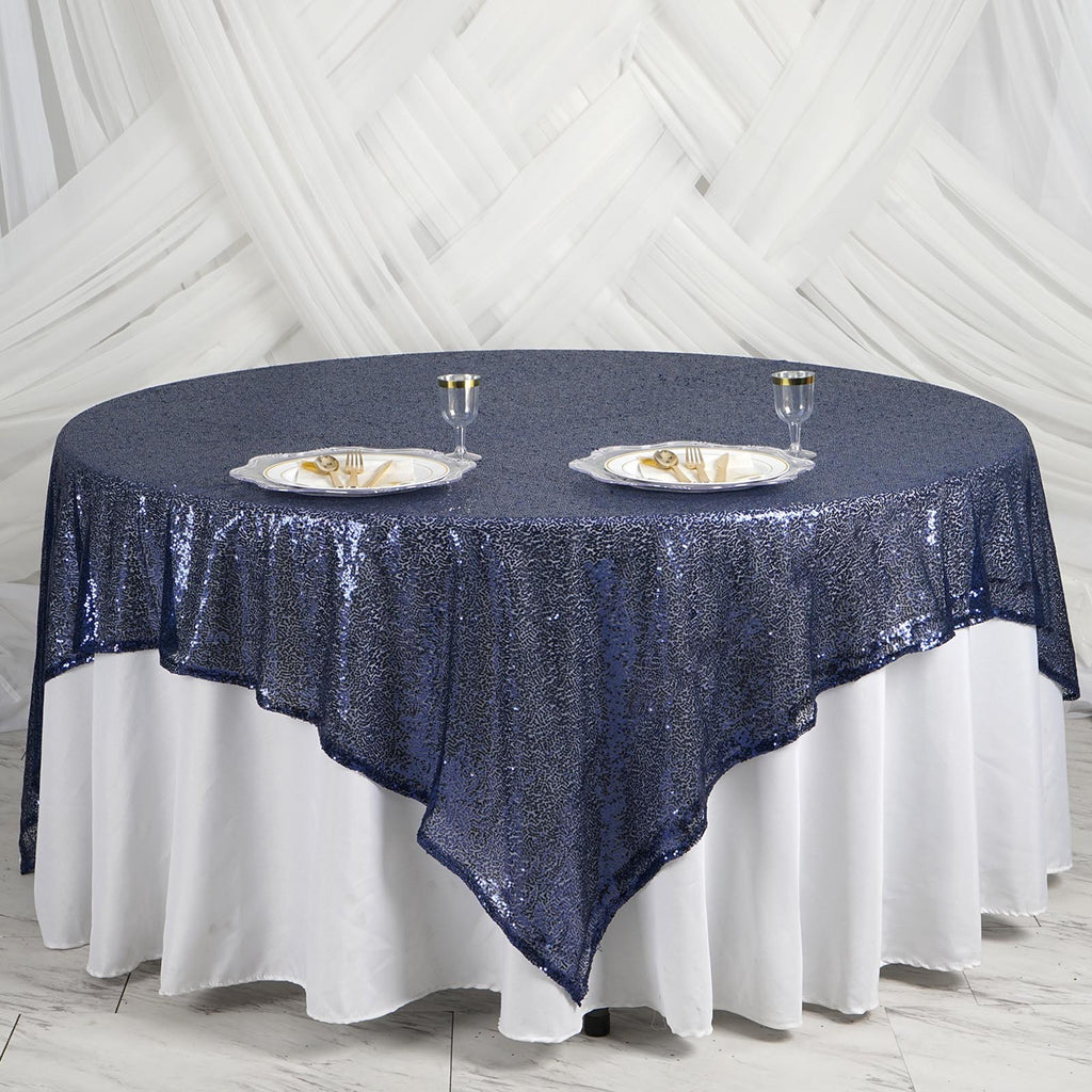 "LUXURY COLLECTION Duchess Sequin Overlay 90"" x 90"" - Navy"