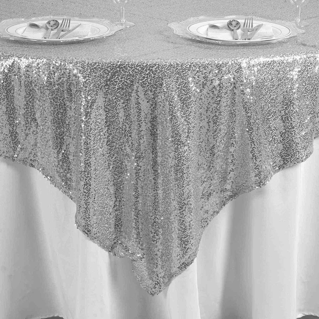 "LUXURY COLLECTION Duchess Sequin Overlay 90"" x 90"" - Silver"