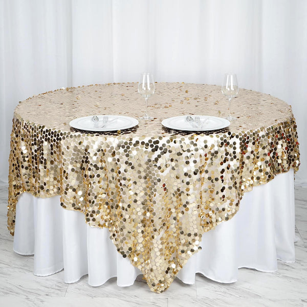 "90""x90"" Champagne Premium Big Payette Sequin Overlay"