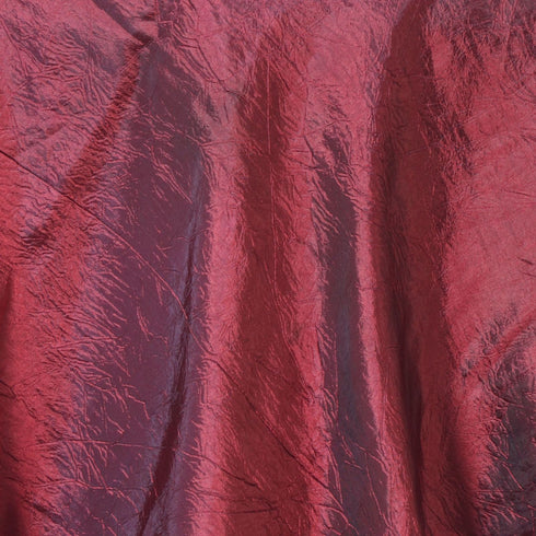 "90"" x 90"" Burgundy Crinkle Crushed Taffeta Square Tablecloth Overlay"