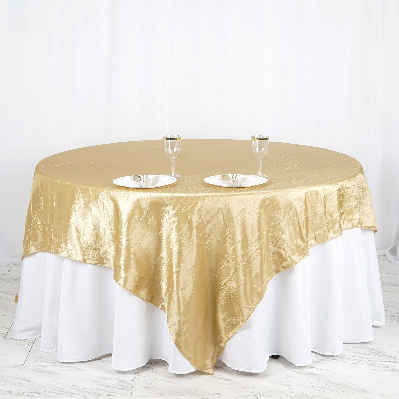 Efavormart Apple Green Taffeta Crinkle Square Tablecloth Overlay 90x90 Square Tablecloth Cover for Wedding Party Event Banquet
