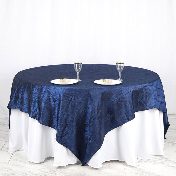"90"" x 90"" Navy Blue Crinkle Crushed Taffeta Square Tablecloth Overlay"