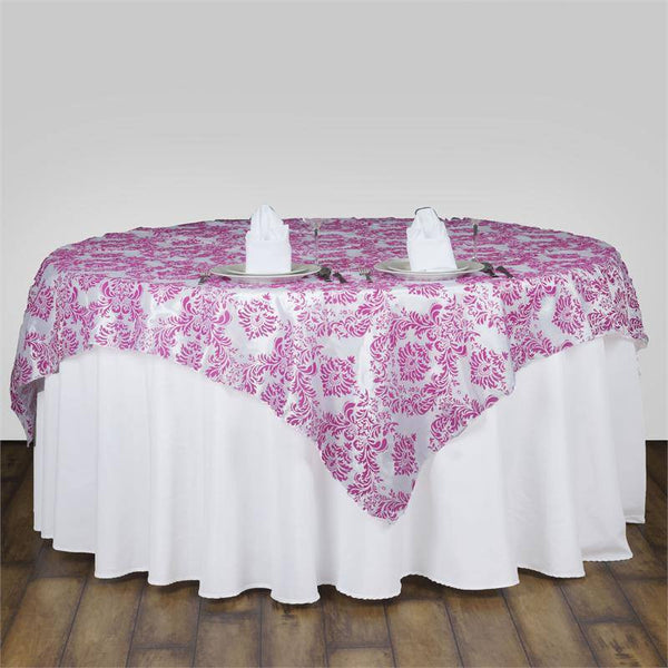 "90"" x 90"" Fushia Damask Flocking Square Overlay"