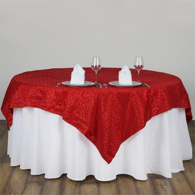"90"" x 90"" RED / RED Taffeta Flocking Table Square Overlay Leopard Animal Print"