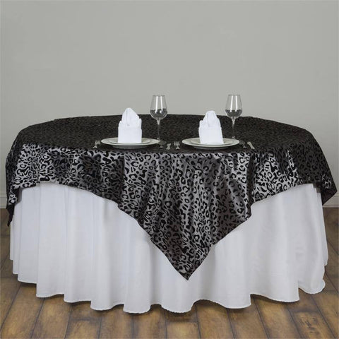"Silver Leopard Overlay 90""x90"" - Silver / Black"
