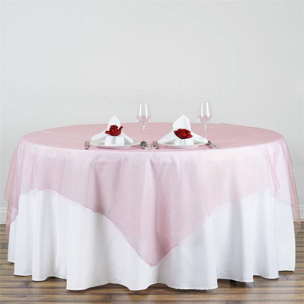 "90"" x 90"" Rose Quartz Organza Square Table Overlay"