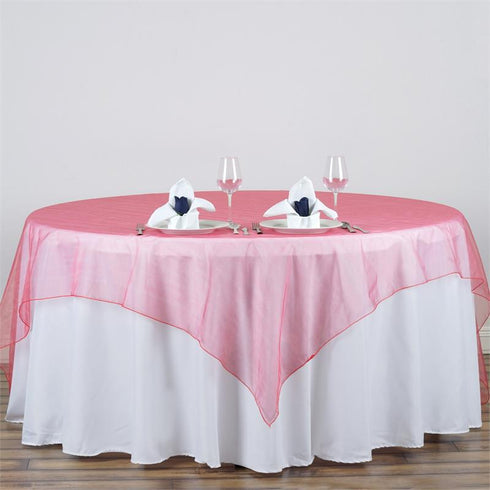 "90""x90"" Square Coral Organza Table Overlay"