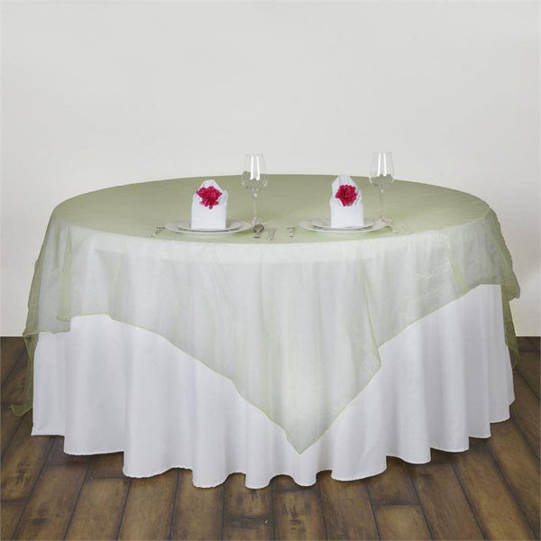 "90"" x 90"" Apple Green Organza Table Square Overlay"