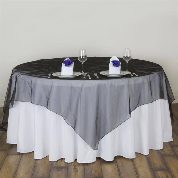 "90"" x 90"" Black Organza Table Square Overlay"