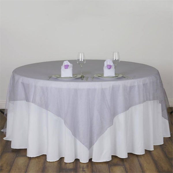 "90"" x 90"" Lavender Organza Table Square Overlay"