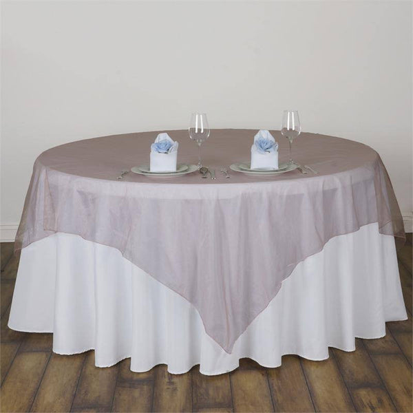 "90"" x 90"" Dusty Rose Organza Table Square Overlay"