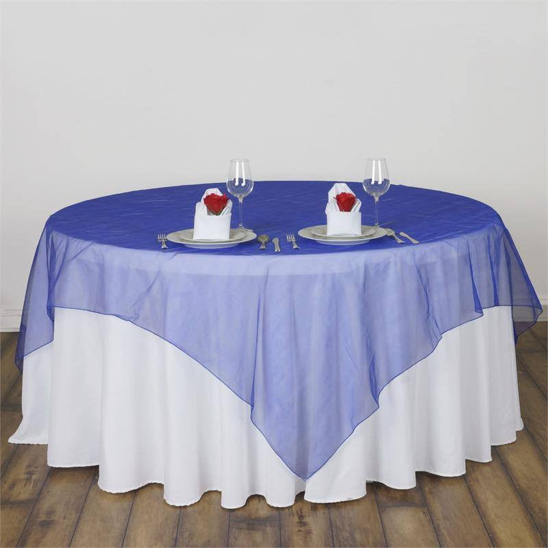 Royal Blue Organza Overlay 90x90""