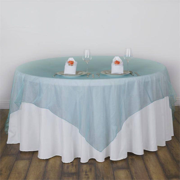 "90"" x 90"" Turquoise Organza Table Square Overlay"