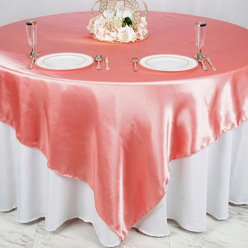 "90"" x 90"" Rose Quartz Seamless Satin Square Tablecloth Overlay"