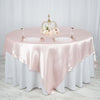 "90"" SATIN Square Overlay For Wedding Catering Party Table Decorations-Blush"