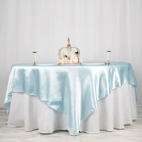 "90"" x 90"" Light Blue Seamless Satin Square Tablecloth Overlay"