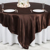 "90"" x 90"" Chocolate Seamless Satin Square Tablecloth Overlay"