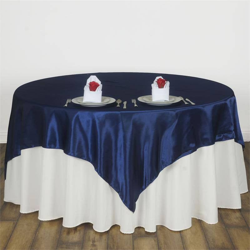 Navy Blue Satin Overlay 90x90""
