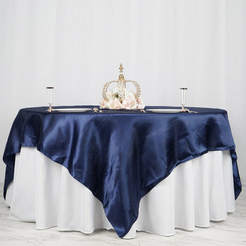 "90"" x 90"" Navy Blue Seamless Satin Square Tablecloth Overlay"