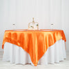 "90"" x 90"" Orange Seamless Satin Square Tablecloth Overlay"