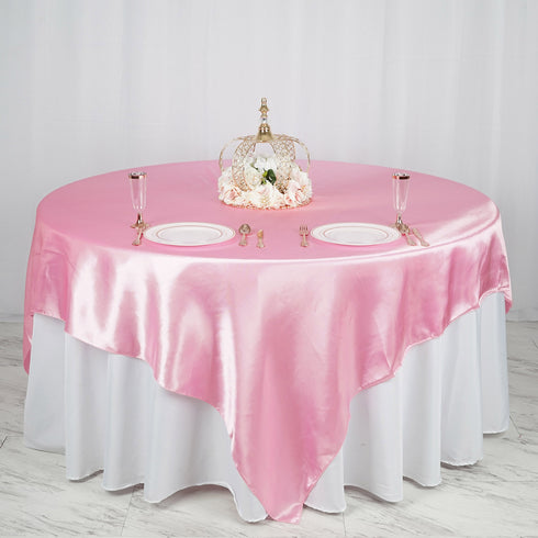 "90"" x 90"" Pink Seamless Satin Square Tablecloth Overlay"