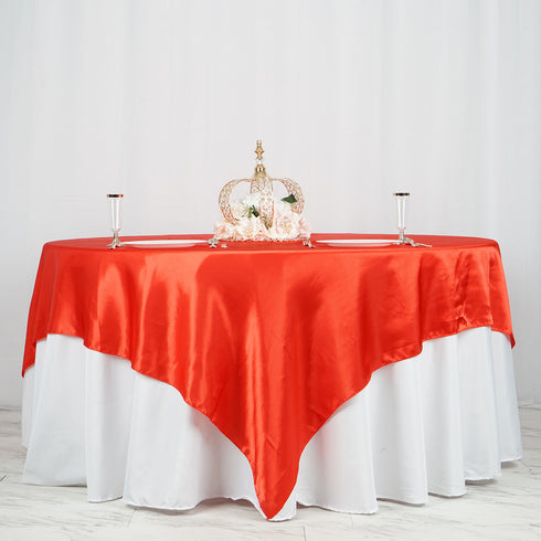 "90"" x 90"" Red Seamless Satin Square Tablecloth Overlay"