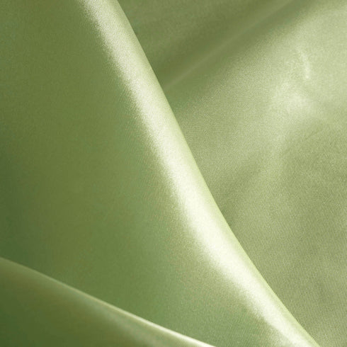 "90"" Sage Green Seamless Satin Square Tablecloth Overlay"