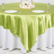 "90"" x 90"" Sage Green Seamless Satin Square Tablecloth Overlay"
