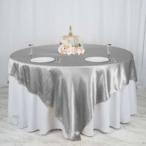 "90"" x 90"" Silver Seamless Satin Square Tablecloth Overlay"