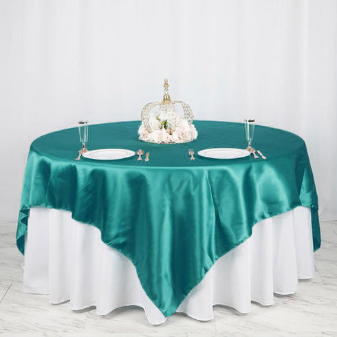 "90"" x 90"" Turquoise Seamless Satin Square Tablecloth Overlay"