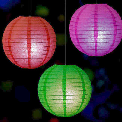 12 Pack White LED Battery Operated Remote Controlled Paper Lantern Lights