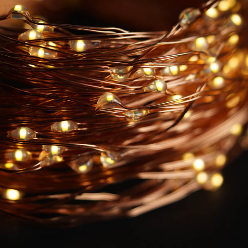8FT | 200 LED | Waterfall Lights | 10 Strands | Copper Spray Strands | Battery Operated Fairy lights | Warm White