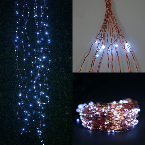 8FT | 200 LED | Waterfall Lights | 10 Strands | Copper Spray Strands | Battery Operated Fairy lights | White