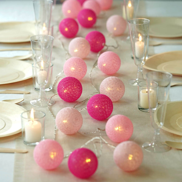 13FT Cotton Ball String Lights Battery Operated With 20 Warm White LED - Blush | Fushia | Pink