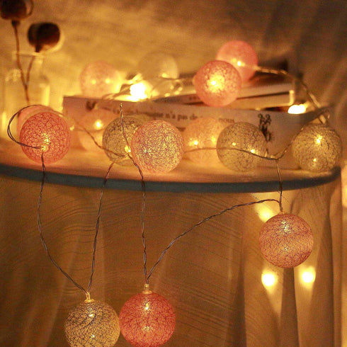 13 Ft 20 LED Battery Operated Multi-Color Cotton Globe String Lights