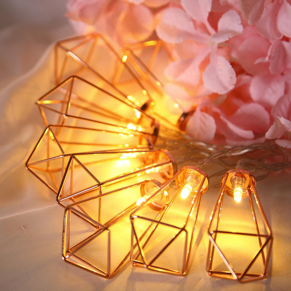 11FT | 20 LED Geometric Prism | Rose Gold | Battery Operated Fairy String Lights -  Warm White