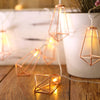 11 FT | 20 LED Geometric Prism | Rose Gold | Battery Operated Fairy String Lights -  Warm White
