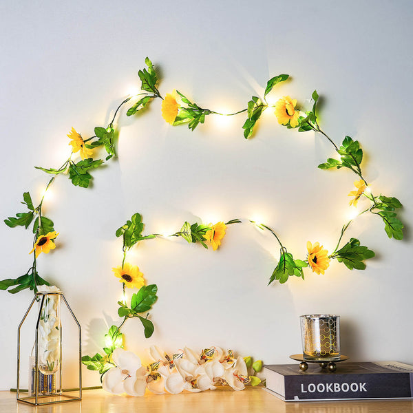 8FT | 20 LED Artificial Sunflowers Greenery Garland, Battery Operated Warm White Fairy String Lights