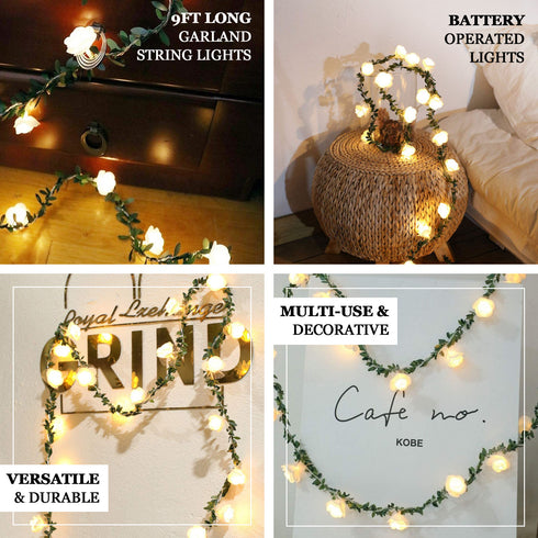 9FT | 20 LED White Artificial Foam Rose and Lace Flower Garland, Battery Operated Warm White Fairy String Lights