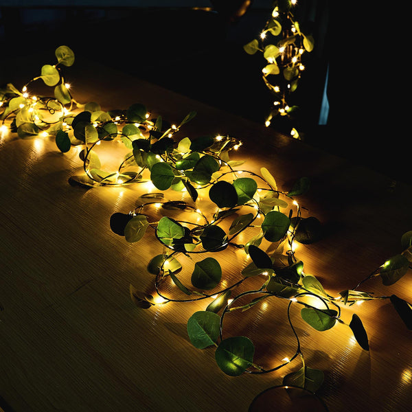 32FT | 100 LED Green Artificial Eucalyptus Leaf Garland, Battery Operated Fairy String Lights