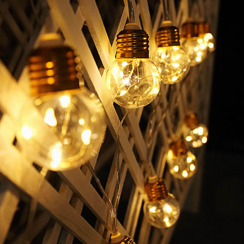 13 FT Warm White 8-Mode Dimmable Fairy Light Bulbs with Remote Control - 10 Gold Base LED Bulbs
