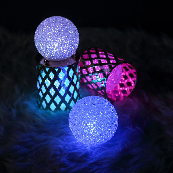 "4 Pack - 3"" Color Changing Portable LED Centerpiece Ball Lights - Battery Operated LED Orbs"