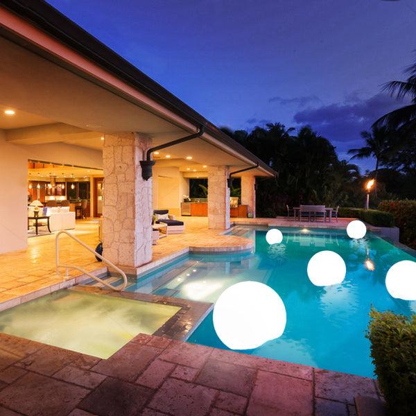 "24"" Cordless Floating Pool Lights with Remote, Garden Lights 16 RGB Colors With 4 Color Modes Light Up Ball"