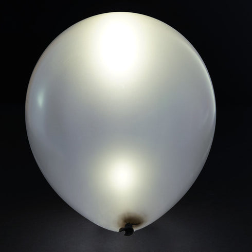 "12"" LED LIGHT UP THE NIGHT Latex Balloons 10/pk - White/Silver"
