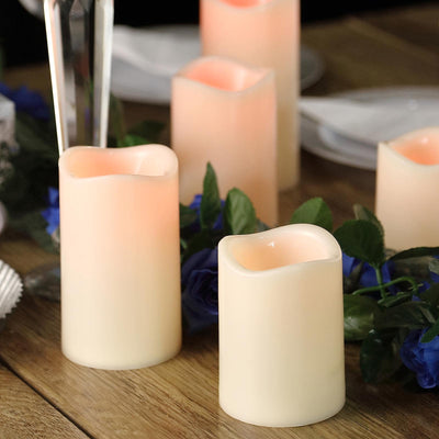 Set of 5 | Color Changing Flickering Flameless Candles LED | Pillar Candles With Remote | eFavormart