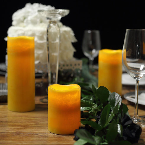 Set of 3 | Ivory | Flameless Candles | Battery Operated LED Pillar Candle Lights with Remote Timer - 4"