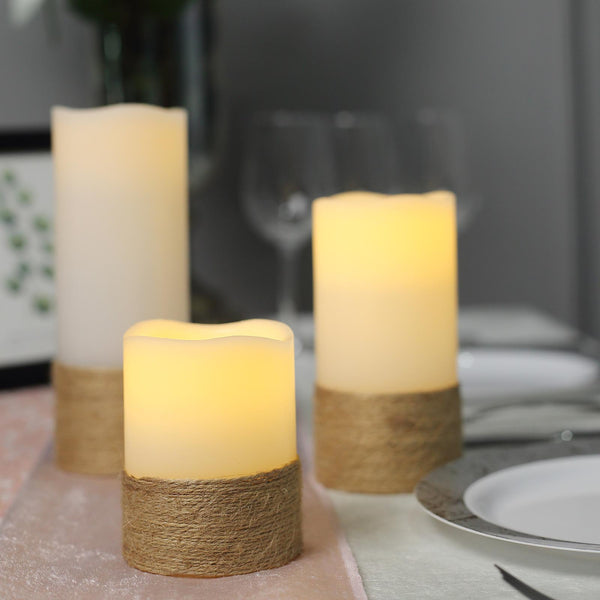 Set of 3 | Natural | Flameless Candles | Battery Operated LED Pillar Candle Lights with Remote Timer - 4"