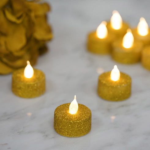 12 Pack - Gold Glitter Flameless LED Candles - Battery Operated Tea Light Candles