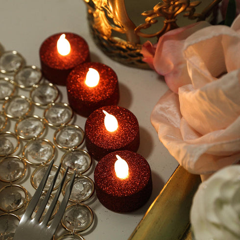 12 Pack | Glitter Flameless Candles LED | Tea Light Candles - Red | eFavormart